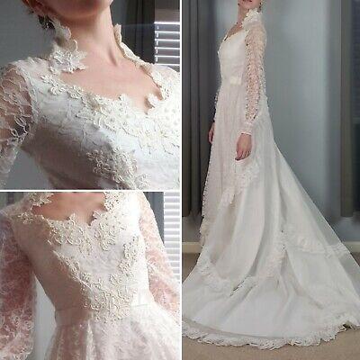 Vintage 1970s Bridallure Alfred Angelo lace high neck wedding dress