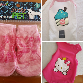 Pet pack Hello kitty, Muffin shirt and pink socks