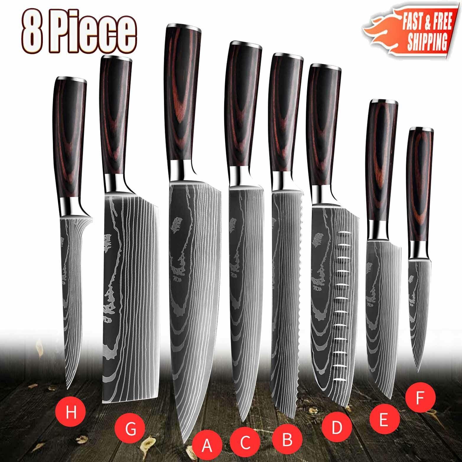 8 Piece Professional Kitchen Knife Set Japanese Damascus Sty