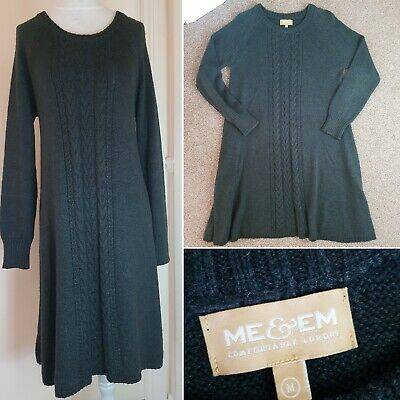 ME+EM Charcoal Grey Cable Knit Alpaca Silk Blend Jumper Dress Size M