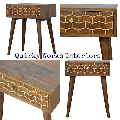 Quirky Bedside Table Cabinet Gold Inlay Danish Retro Style Atomic Legs Funky