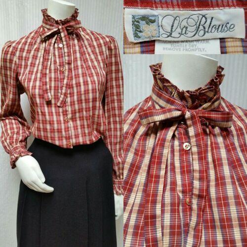 Vintage LA BLOUSE Red Plaid Ruffle Tie Neck Shirt Top - Size M - EUC