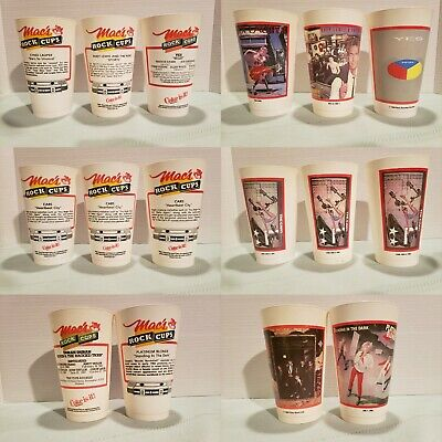 Vintage Lot of 8 1980s Macs Slush Puppie Rock Cups Various Bands and Artists