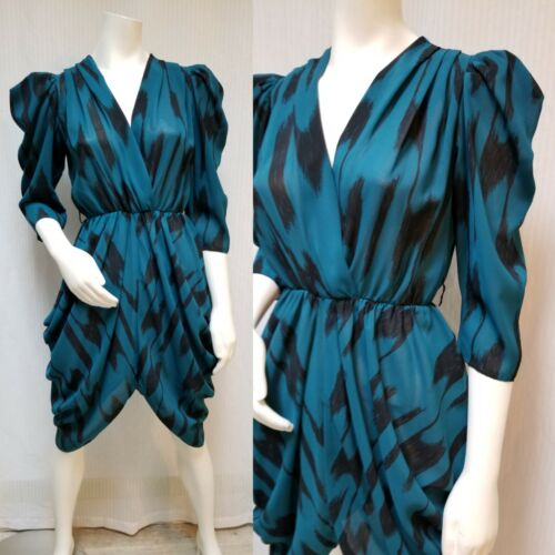 Vintage 80s GLENROB Teal & Black Abstract Print Draped DRESS - Size S/M