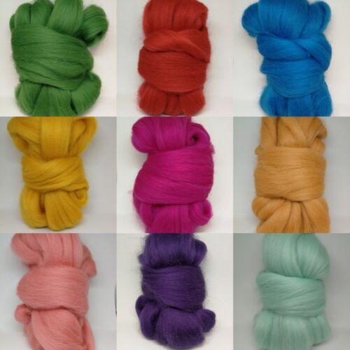 50g Corriedale Wool Tops - Various Colours
