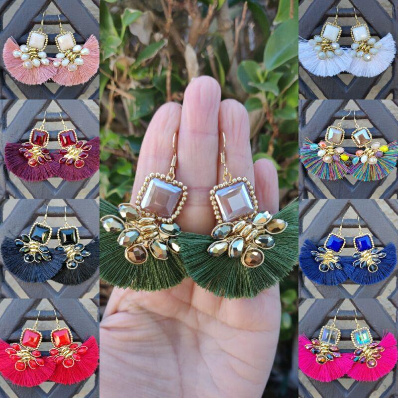 Aretes de cristal boho de hilo  lote de 20 pares  joyeria artesanal mexicana.
