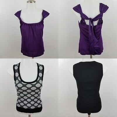 The Limited Tank Top XS Lot of 2 Sleeveless Polka Dot Black Purple Cross Strappy - The Purple Polka Dot