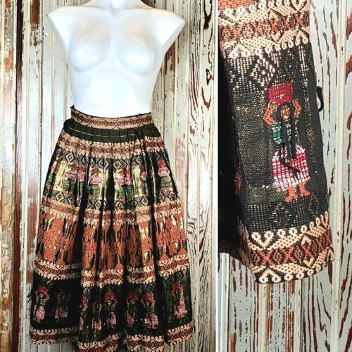 Vtg Guatemalan Skirt Metallic Gold Embroidered Hand Woven Folk Art Brown Small