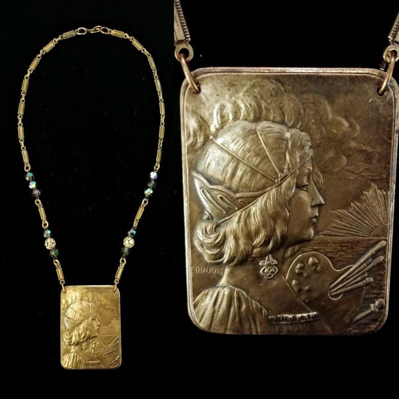 Vintage French Art Nouveau Art Goddess Portrait Necklace! Signed F. Dubois Rare