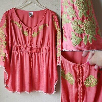 Ivy Jane Poncho Tunic Women's Small Embroidered Lace Tassel BOHO (Jane Poncho)