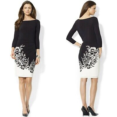 Ralph Lauren Size 14 Ruched Waist 3/4 Sleeve Black Floral Sheath Career Dress