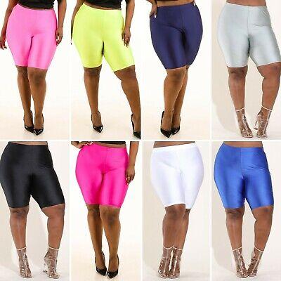 Plus Size Shiny Nylon Elastic Waist Spandex Stretch Biker Knee Shorts 1X 2X 3X ()