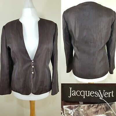 Jacques Vert Chocolate Brown Pink Blazer Jacket Size 16 Races Wedding Cruise NEW Chocolate Brown Pink Wedding