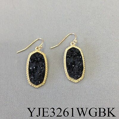 (Bohemian Gold Finished Black Oval Shape Druzy Stone Design Drop Dangle Earrings)