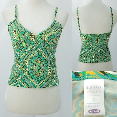Old Navy Lined Tankini (Old Navy Womens Small Teal Paisley Tankini Crop Swimsuit Top Lined No Pad Style )