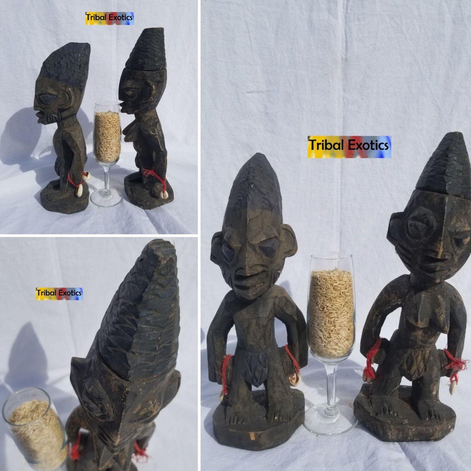 HALLOWED Yoruba Ibeji Twin Sculpture Statue Figure Mask Fine African Art