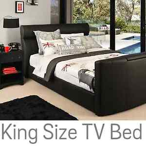 Black Suede King Size TV Bed  RRP $3500 Fortitude Valley Brisbane North East Preview
