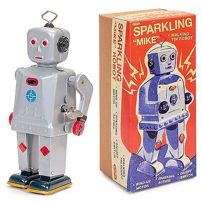 Collectors Tin Robot - Sparkling Mike Robot Windup Walking Tin Wind up Toy Collectors by Schylling