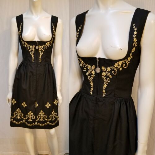 NWOT Vintage Black w/ Gold Embroidery Dirndl of Riehl Modell - Size 40 - XS