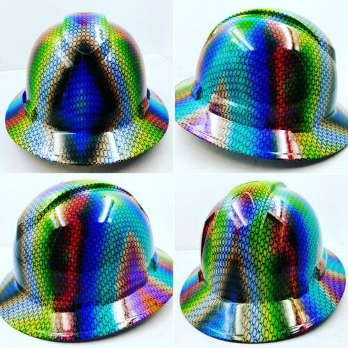 FULL BRIM Hard Hat custom hydro dipped MULTI COLOR BASKET WEAVE CARBON FIBER NEW 4