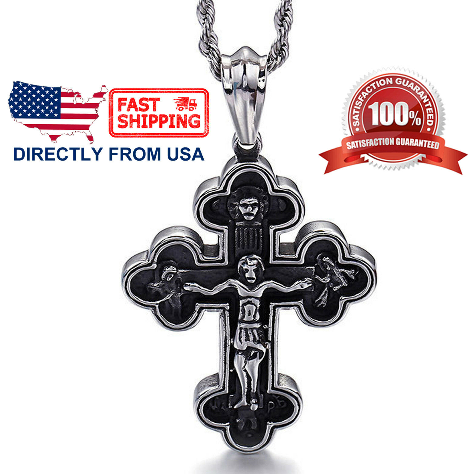 Men's Large Jesus Christ Crucifixion Cross Pendant Necklace in Stainless Steel Chains, Necklaces & Pendants