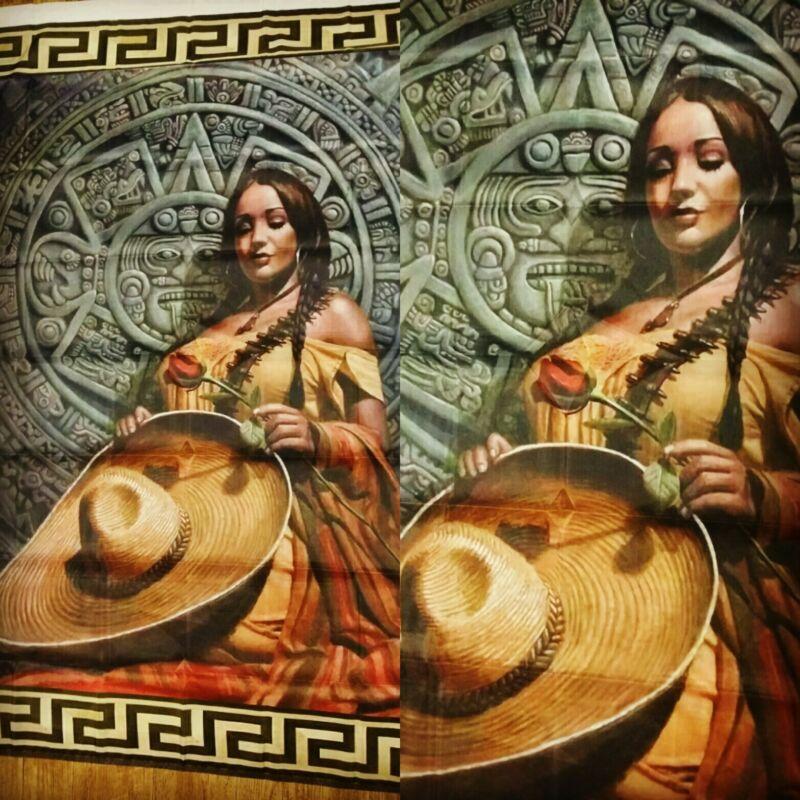 Chicano Mexicano Color Esperanza  Aztec Calendar  Flag Banner 3ft x 5ft