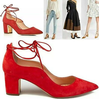 Rupert Sanderson POET Pointed Toe Suede Pumps Orig $525 Ferraree (Red) US 6