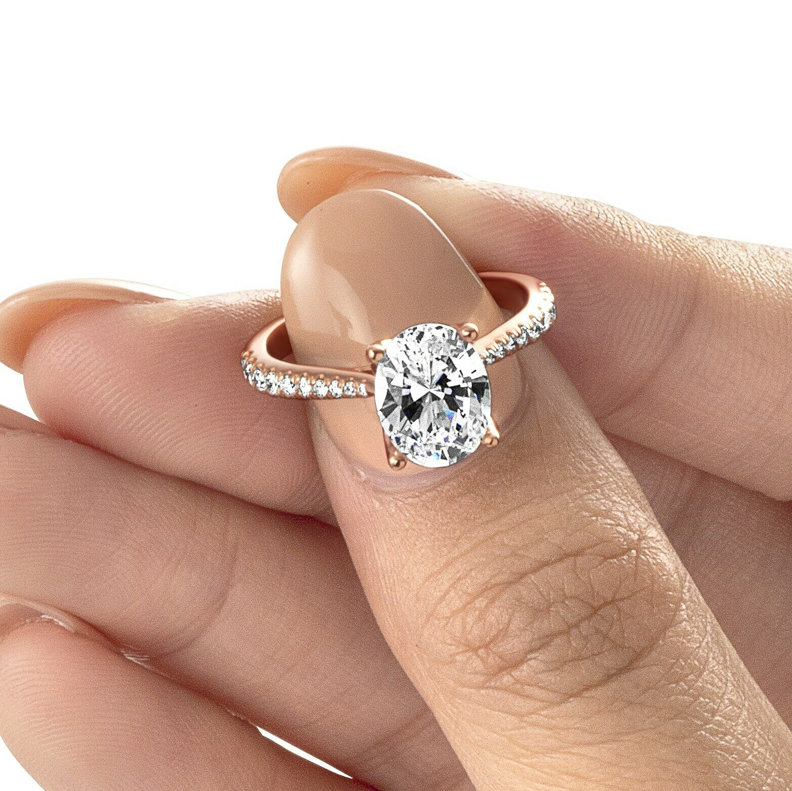 Gorgeous 1.75 Ct Oval Cut Diamond Prong & Pave Engagement Ring G,VS1 GIA 18K WG