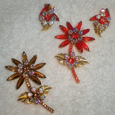 2 VTG JULIANA BROWN ORANGE RHINESTONE FLOWER BROOCHES / PINS & EARRINGS-#108/112