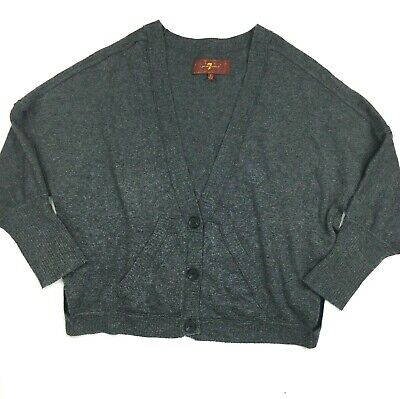 7 for all Mankind Sweater size S Angora Cashmere Gray Dolman Sleeve Cardigan ()