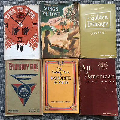 6 Vintage Song Books -1930's & 1940's Home School & Community Songs