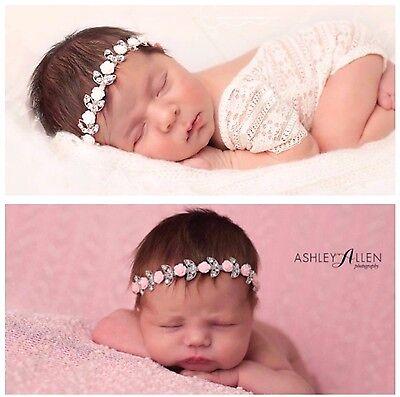 Newborn Baby Headband Crystal Bling Pink White Roses Rhinestone Photo Prop  Pink Crystal Bling