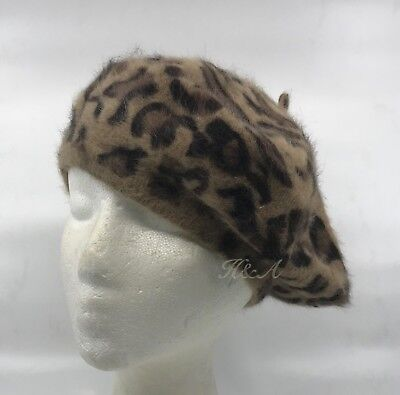 Women Fashion Leopard Print Classic French Artist Angora/Acrylic Beret Hat Cap - French Artist Beret