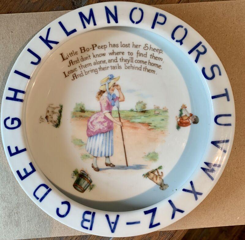 Vintage Child's ABC Porcelain Dish Bowl Little Bo Peep Nursery Rhyme Germany