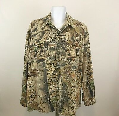 Backland Outdoors Mens Full Benefit Camo Shirt Button Front Long Sleeve Sz XL