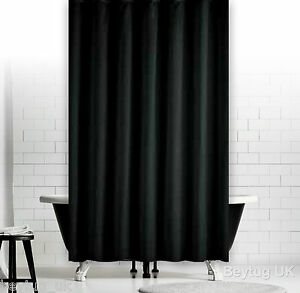 plain black fabric shower curtain weighted hem extra. Black Bedroom Furniture Sets. Home Design Ideas