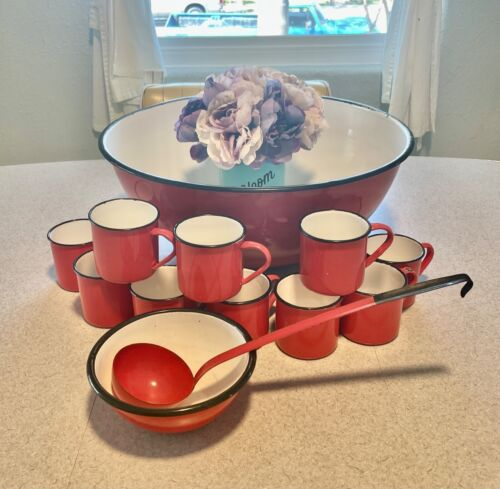 13 PC Vintage Orange Polish Enamelware Set (Punch Bowl and mugs)
