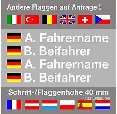 Aufkleber Rallye  ( DMSB National ) Flagge+Name 40 mm Schrifthöhe