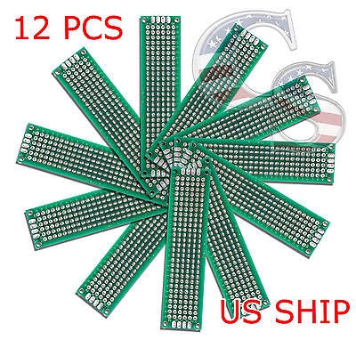 12pc 2x8 Cm Double Side Diy Prototype Circuit Breadboard Pcb Universal Board G