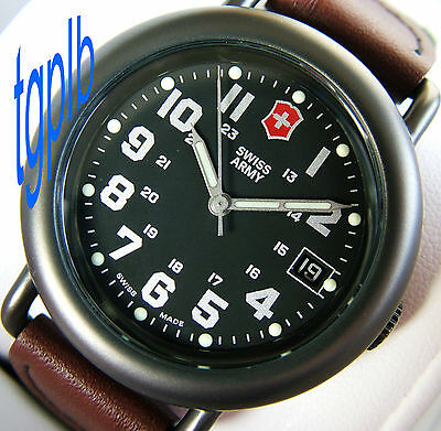 NOS/NEW SWISS ARMY~MeNs CAVALRY Special GunMetal PVD+Black Dial+SuPeR LuMe=SWEET