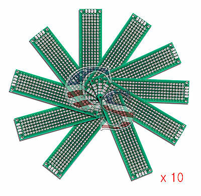 10pcs 2x8 cm Double Side DIY Prototype Circuit Breadboard PCB Universal Board(G)