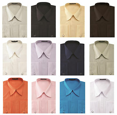 Men's Pleated French Cuff Pat Riley Collar Dress Shirt with