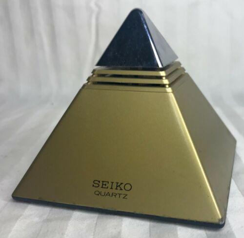 SEIKO Quartz Pyramid Talking Alarm Clock DA571G Works! Vintage Gold Chrome