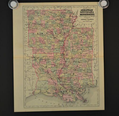 Antique Map ARKANSAS LOUISIANA and MISSISSIPPI, Johnson