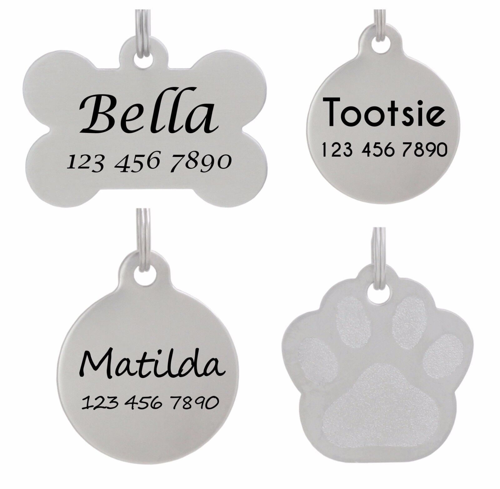 Pet ID Tag Personalized Dog Tag Cat Tag Laser Etched Stainle