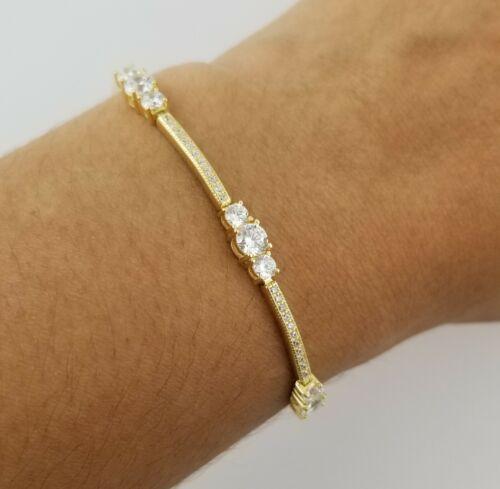 "14k Yellow Gold Over Sterling Silver Round Diamond 7"" Tennis Bracelet"