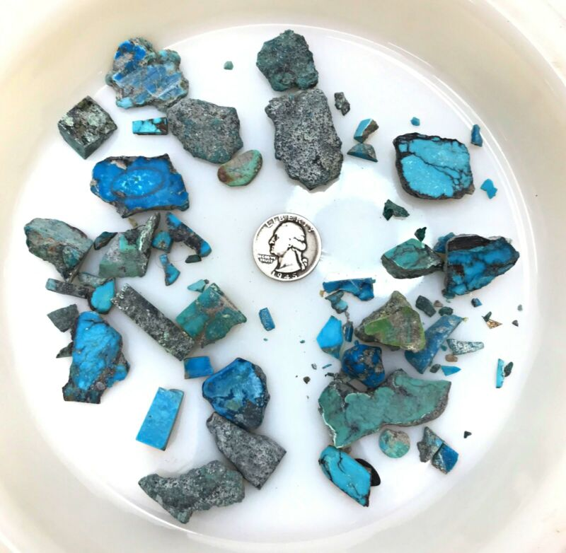 Lot of 100+g grams Turquoise Rough Jewelry Making Old Stock AZ Estate *f20