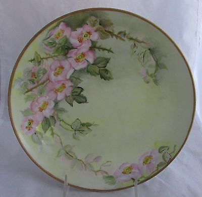 Old O&EG Royal Austria Hand Painted Pink Flowers Porcelain Plate Artist Signed
