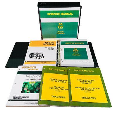 Service Manual Set John Deere 80 820 830 Diesel Tractor Repair Shop Parts Book
