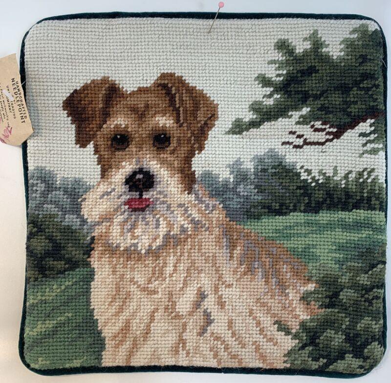 """Fox Terrier Dog Needlepoint Pillowcase 10"""" Square with Velveteen Back w/Zipper"""